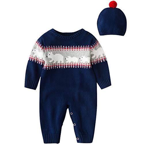 Zilee Bambino Tutina Pagliaccetto Maglione Natalizio - Pigiami in Cotone Tutine con Cappello Tuta Maniche Lunga Morbido Abbigliamento Sets Invernali Bambini Bambine