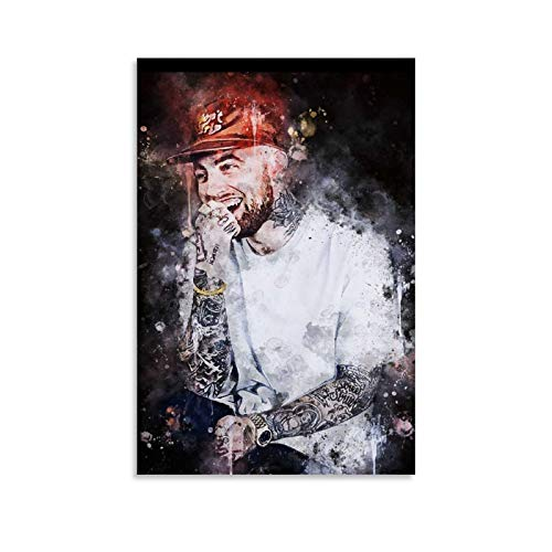 DAFEIJI Póster de personaje de Mac Miller Splatter Art Canvas Poster y Wall Art Impresión moderna para dormitorio familiar 60 x 90 cm