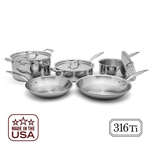 Heritage Steel 8 Piece Core Cookware Set - Titanium Strengthened 316Ti Stainless Steel with 7-Ply Construction - Induction-Ready and Dishwasher-Safe, Made in USA