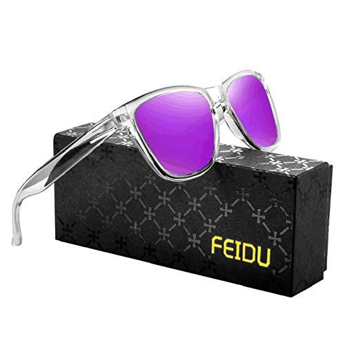 FEIDU Retro Polarisierte Damen Sonnenbrille- Herren Sonnenbrille Outdoor UV400 Brille,Farblinse, Strandreisen unerlässlich für Fahren Angeln Reisen FD 0628 (Transparentes-Lila, 60)