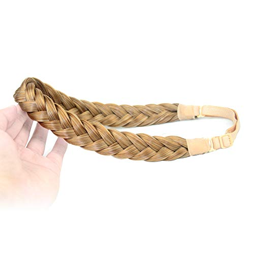 DIGUAN 2 Strands Synthetic Hair Braided Headband Classic Chunky Plaited Braids Elastic Stretch Hairpiece Women Girl Beauty accessory, 54g Boho (Caramel Blonde)