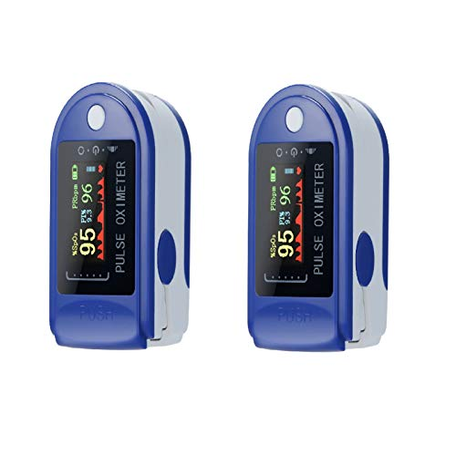 Anself 2 Pezzi Mini Sensore di Impulso Digitale a Punta delle Dita Saturazione Monitor Misuratore di Frequenza di Impulso, TFT Display Cordino Custodia, Blu