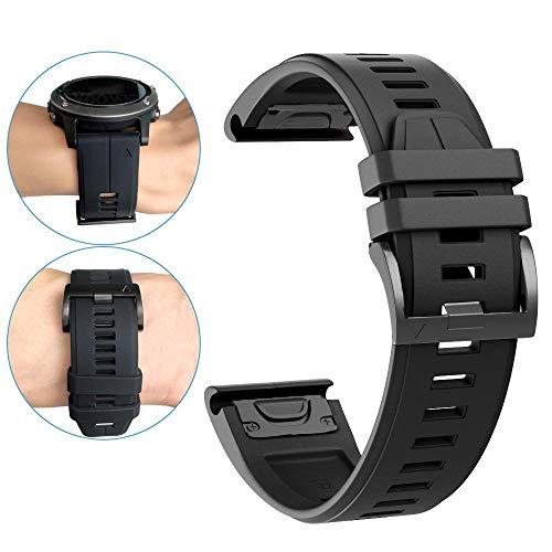 YOOSIDE Fenix 6X/Fenix 5X Silikon Armband, 26mm QuickFit Weich Wasserdicht Silikon Ersatzarmband Uhrenarmband für Garmin Fenix 5X/5X Plus,Fenix 6X Solar/Pro/Sapphire,Fenix 3,Tactix Delta(schwarz)