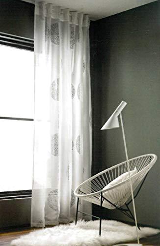 Brandsseller Schlaufenschal Kreise Vorhang Gardine für Stange und Schiene mit Gardinenband ca. 135 x245 cm Weiß