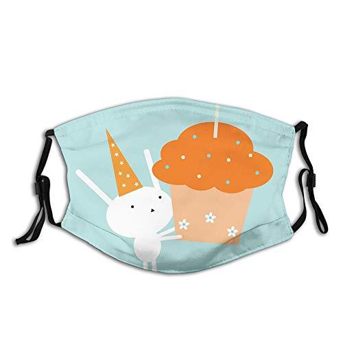 DPASIi Fashion 3D Face Protect stampato, coniglietto di compleanno in cappello da festa soffiando fuori gigante cupcake con fiori