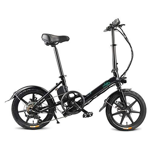 humflour Bicicleta eléctrica Plegable, Bicicleta eléctrica, 36 V, 250 W, 25 km/h de Velocidad máxima, Grado de Estabilidad de hasta 30 Grados, Unisex Adulto, Negro
