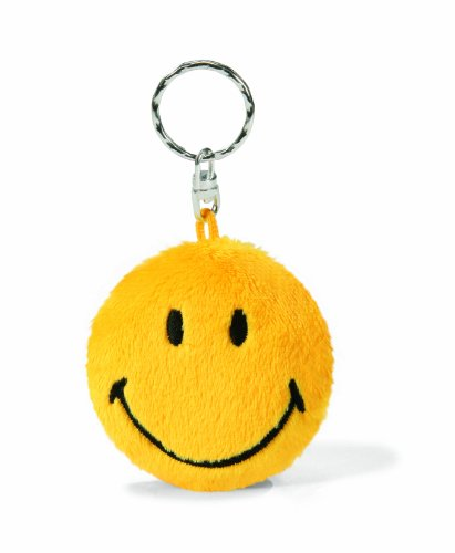 Nici 35866 - pluche 2D sleutelhanger - Smiley, 6 cm, geel