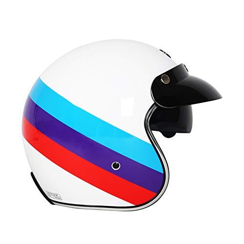 YHDQ Retro motorfiets locomotief helm, mannelijke motorfiets vrouwelijke semi-overdekte elektrische voertuig helm, schattig vier seizoenen ECE veiligheidscertificering stijlnaam X-Large Whitepalermo