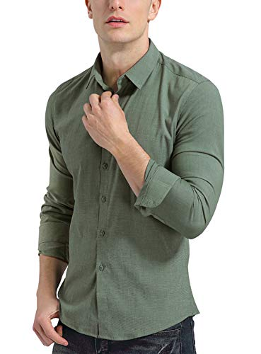 KOGO Men's Dress Shirts Slim Fit Solid Casual Button Down Non-Iron Shirts (M (Shirt Chest 42-43 Inch), Grass Green)