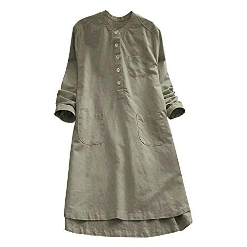 Vestido de verano para mujer, bohemio, elegante, manga corta, largo hasta la rodilla, vintage, suelto, para la playa, de un solo color, estilo túnica, #02_army Green, XXL