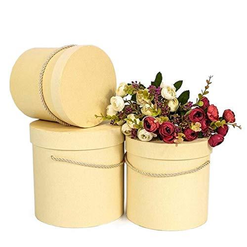 3er Set runde Dekoschachteln in Creme mit Kordel, Dekobox, Blumenbox, Aufbewahrungsbox, Hutschachtel