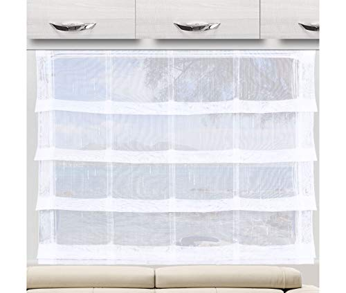 """SeGaTeX home fashion Raffrollo Raffstore """"Svea"""" weiß 56 cm hoch   3 Feste Falten   Fertiggardine für Caravan Wohnwagen   incl. PVC Flachprofil"""