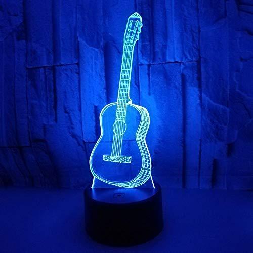 Gitaar, 3D-nachtlampje, zeven kleine tafellamp, kleurennotenlamp, creatieve cadeausfeer.