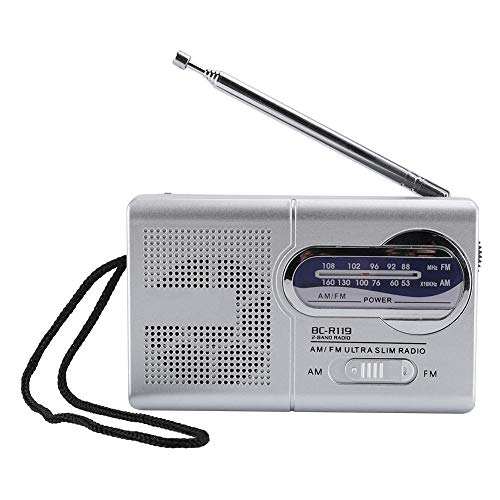 Diyeeni AM/FM Radio,Dual Bands Pocket Radio Speaker with Built-in Speaker,Retractable Antenna,Mini Portable AM/FM Player,Battery Operated