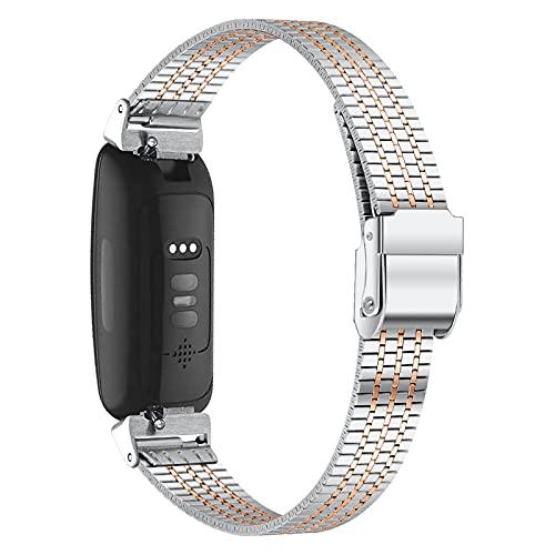 AISPORTS Compatible con Fitbit Inspire 2 Correa para hombres y mujeres, delgada, sólida, ajustable, de acero inoxidable, correa de repuesto para Fitbit Inspire 2 Fitness Tracker