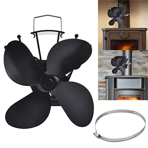 Clevoers Ventilador para Estufa, Ventilador para Chimenea de 4 aspas – Ventilador para Estufa eléctrica de bajo Consumo – Sin Consumo de Electricidad