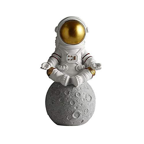 Astronaut Figurine Statue, 9,84 x 5,90 Zoll Resin Astronaut Statuen, Astronaut Planet Statuen Figur Ornament, Desktop Decor Home Decor(Gold,size:Trete)