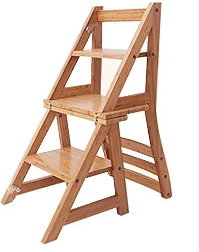 JXXDDQ Escalera de madera para el hogar plegable escalera multifunción taburete escalera silla interior subida madera maciza