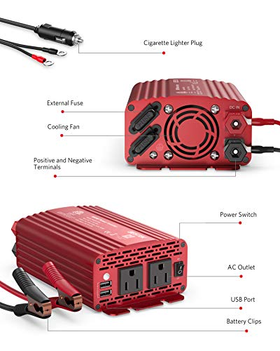 BESTEK 500W Power Inverter DC 12V to 110V AC Converter with Alligator Battery Clamp 4.8A Dual USB Car Charger ETL Listed
