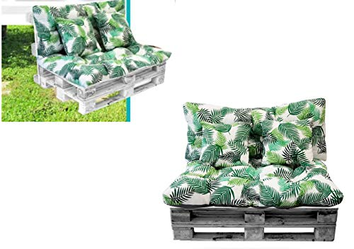 Cojines para PALETS Y SILLONES DE 2 PLAZAS (Asiento + Respaldo + 2 Cojines Decorativos). Cojín de Palets y de sillones de 2 plazas. Ideal para Interior y Exterior (Ramas)