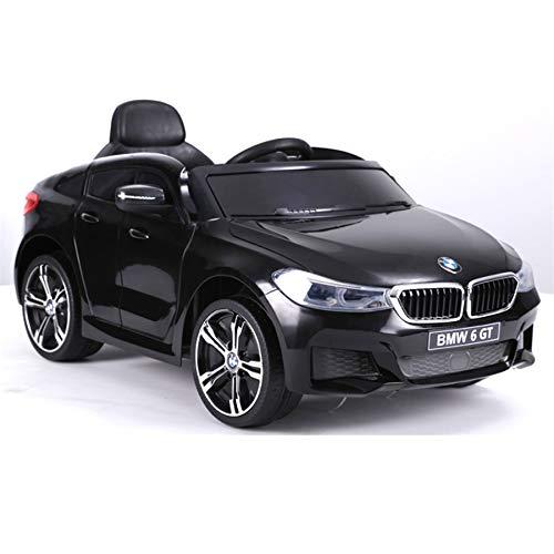 ES-TOYS Kinderfahrzeug - Elektro Auto BMW 6GT - lizenziert - 12V, 2 Motoren+ 2,4Ghz+ Ledersitz+Eva (Schwarz)