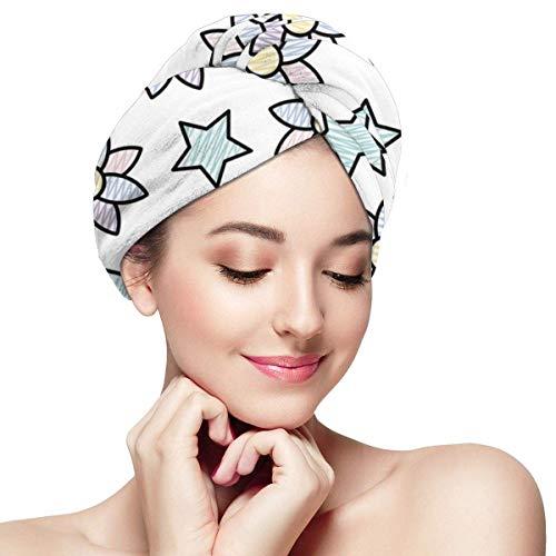 GYTHJ Cheveux exotiques Capdoodle Fleur exotique avec fond d'étoile brillante Enveloppement de serviette pour les femmes 11 pouces x 28 pouces Turban de cheveux à séchage rapide super absorbant pour l