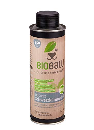 Biobalu Bio Schwarzkümmelöl 250 ml | Schwarzkümmelöl für Hunde & Pferde | Ergänzungsfutter zur Steigerung der Abwehrkräfte | Barf Öl & Schutz vor Parasiten