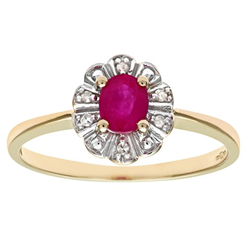 Naava 9 ct Yellow Gold Diamond and Ruby Cluster Women's Ring