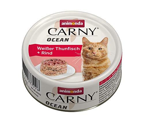 Nourriture pour chat Carny Ocean d'animonda, nourriture humide pour chat, thon blanc + bœuf, 12 x 80 g