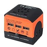 Adaptador de corriente internacional Adaptador de viaje portátil, convertidores de energía mundial Universal World Travel Plug Adaptador con cargador USB para el Reino Unido Japón China Convertidores