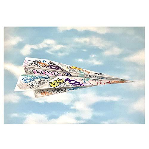 Graffiti Arte Papel Origami AvióN Poster Impresiones Abstracto Pared Arte Lienzo Pintura Colorido Cuadros para Sala De Estar Inicio Decoracion 40x60cm No Marco