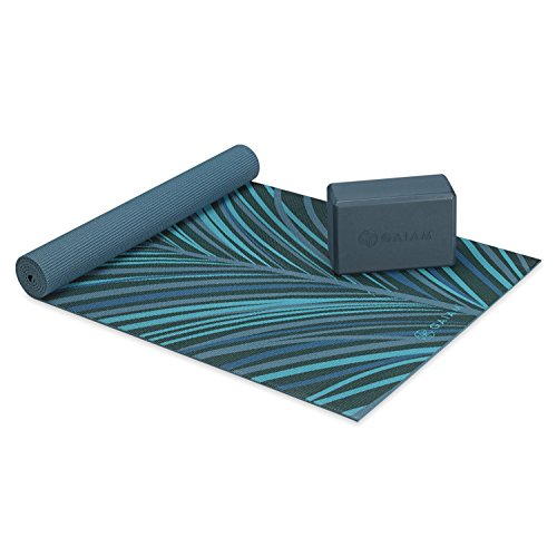 Gaiam Classic Cushion & Support Yoga Kit (Yoga Mat + Yoga Block), Aqua Plume, 4mm