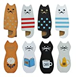 Urtronix Wooden Funny Cats Refrigerator Magnet Wood Fridge Magnet Clips Magnets for Fridge Whiteboard Animal Refrigerator Stickers Fridge Stickers for Kids Cat Lovers (8 Packs)