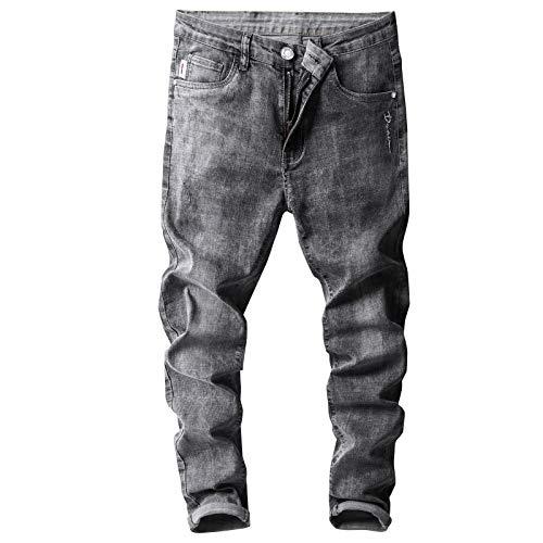Pantalones de Mezclilla para Hombre Primavera y Verano Pantalones de Mezclilla de Tendencia Ajustados y elásticos Retro Delgados Vaqueros cónicos Rectos Delgados 33W