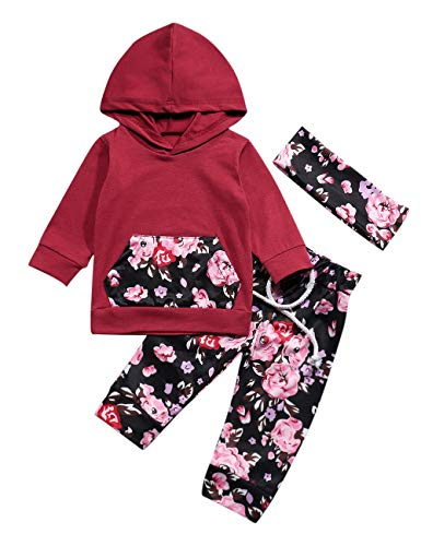 Baby Girls Long Sleeve Flowers Hoodie Tops and Pants Outfit with Pocket Headband 6-12 Months Deep Wine