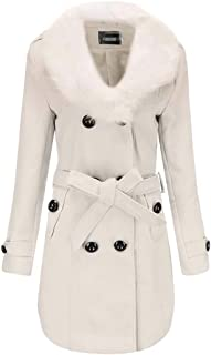 Macondoo Women Thick Faux Fur Collar Classical Double-Breasted Outwear Pea Coat