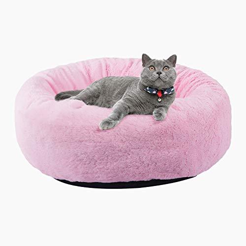BVAGSS Cama para Mascotas Relajante Cama Redonda Nido Cálido para Gatos y Perros Pequeños XH029 (M, Pink)