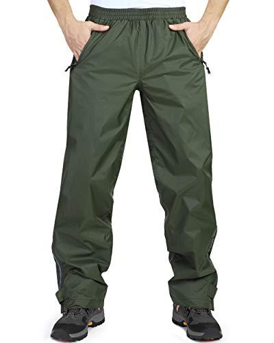 33000ft wasserdichte Regenhose für Herren Leichte Regenhose Winddichte Outdoorhose zum Wandern Camping Golf Armeegrün L 32L