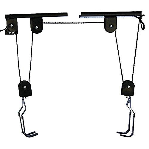 Fahrradaufhängung, Fahrradlift, bis 30 kg, Fahrrad Deckenhalter Bike Lift bis, mit Seilzug, für Garage und Keller, schwarz