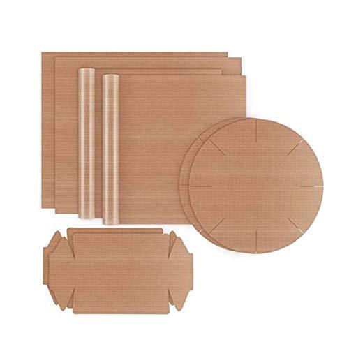 Carta da forno riutilizzabile, set da 8 pezzi (4 rettangolari, 2 stampi rotondi, 2 stampi per scatola)