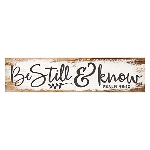 P. Graham Dunn Be Still Know I Am God Script Design White Wash 6 x 1.5 Mini Pine Wood Tabletop Sign Plaque