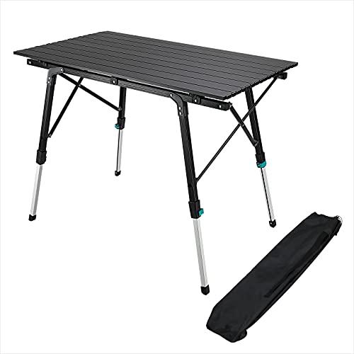Synlyn Campingtisch Tragbar Klapptisch Faltbar Gartentisch Falttisch aus Aluminium Klappbarer Tisch 90 x 52 x (45-67) cm Höhenverstellbar Balkontisch Belastbar bis 50kg für Camping, Angeln - Schwarz