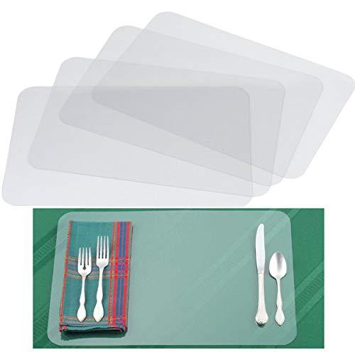 Tangger 12 PCS Kunststoff Tischsets Transparent,43X28cm Tischset für Kinder Tisch Matte Hitzebeständige Essmatten