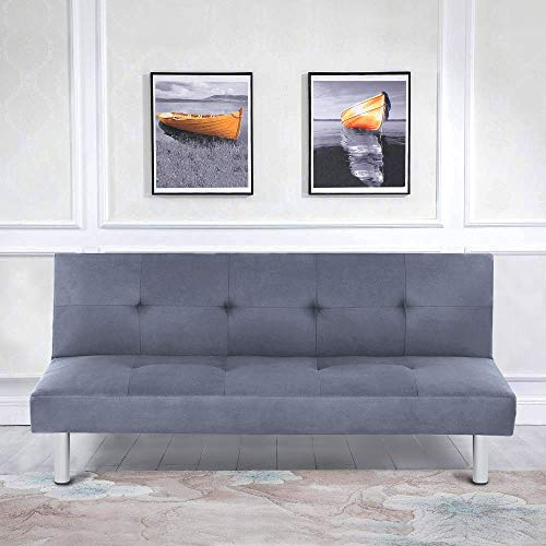 YORKING Fabric 3 Seater Sofa Bed Modern Padded Sofabed Couch Settee Recliner in for Living Room