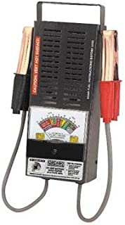 100 Amp 6 Volt/12 Volt Battery Load Tester with heavy-duty battery clips, carrying handle, and rubber feet