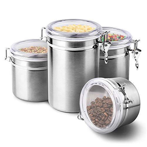 4-Piece Stainless Steel Airtight Canister Set, Beautiful Food Storage Container for Kitchen Counter, Tea, Sugar, Coffee, Caddy, Flour Canister with Clear Acrylic Lid n' Locking Clamp Up to 65 oz