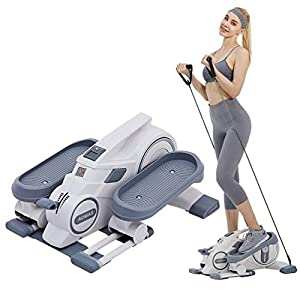 Mini Elliptical Machine with Resistance Bands, Whisper-Quiet Compact Strider, Display Monitor, Adjustable Magnetic Resistance, Portable Handle