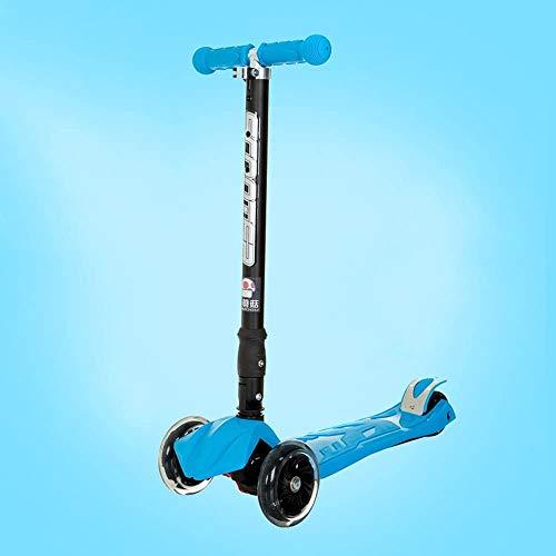 Raelf Anfänger Folding Roller Kinder Roller Roller Ritzen Roller Pedal Dreirad-Roller hohe elastische PU-Flash Verschleißfest Scooter Folding Einstellbare Scooter Gravity Steering Scooter (Farbe: blau