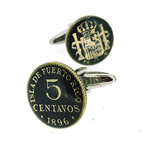 Gemelolandia | Gemelos para Camisa Replica Moneda 5 centavos España 1896 Puerto Rico Color Negro Gemelos Originales Para Camisas | Para Hombres y Niños | Regalos Para Bodas y Comuniones