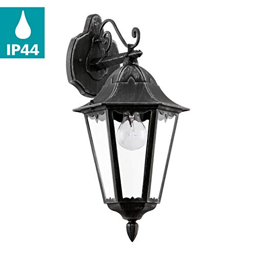EGLO Außen-Wandlampe Navedo, 1 flammige Außenleuchte, Wandleuchte aus Aluguss und Glas, Farbe: Schwarz, silber-patina, Fassung: E27, IP44